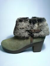 Anthropologie Seth Clog Platform Boot Rustic Suede Moss Green Sz 9