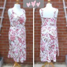 Per Una UK16L Linen Strappy Dress Pink Multi Print Summer Holiday Sundress M&S