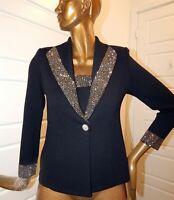 St John Evening sz 4 Black Santana Knit Gold Silver Studded Blazer Jacket