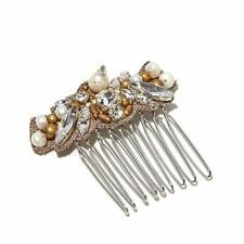 RK BY RANJANA KHAN SIMULATED PEARL AND CLEAR CRYSTAL SILVERTONE SIDE COMB HSN