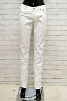 Pantalone JECKERSON Donna Taglia Size 27 Jeans Pants Woman Cotone Regular Bianco