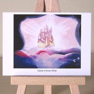 Castle in Snow White clouds ACEO art WDCC drawing