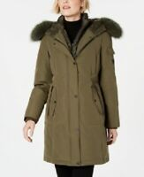 1 Madison Expedition Women's Fox-Fur-Trim Hooded Parka, Green, Size S, $700, NwT