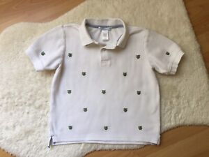 Janie & Jack boys size 5 White Polo Short Sleeve Shirt Green Frogs Embroidered