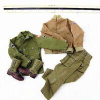 DML 1/6 WWII US Tank Armer Soldier Uniform Clothes Suit + Boots For 12'' Figure