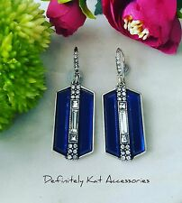 Bold vintage white & blue crystal art deco cocktail statement drop hook earrings