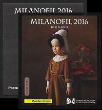 """2016 Folder Foglietto Erinnofilo Milanofil 2016 """"l'arte si fa piccola"""""""