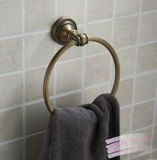 Wall Mounted Antique Brass Round Bathroom Towel Rack Ring Holder Clothes Hanger