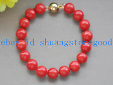 Natural 10mm Round Red Coral Gemstone Bead Bracelet 7.5'' AAA++