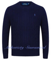 Ralph Lauren Men's Crew Neck Cable Knit Cotton Jumper Navy S - XL RRP £119 SALE!