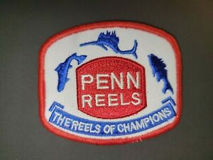 """VINTAGE PENN REELS FISHING   Embroidered 3"""" X 2.5"""" Iron On Patch"""