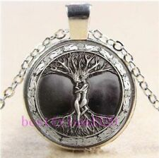Love Tree of Life Adam & Eve Glass Cabochon Tibet Silver Pendant Chain Necklace