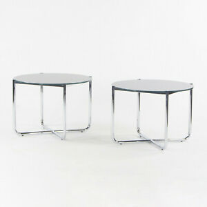 2021 Mies Van Der Rohe for Knoll MR Side End Table Smoked Glass Chromed Steel