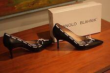 Manolo Blahnik black leather 39 heels Original $785 NEIMAN MARCUS box included