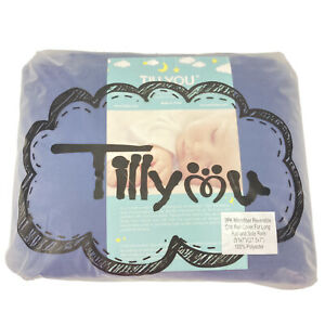 TILLYOU 3-Piece Padded Baby Crib Rail Cover Protector Navy Blue