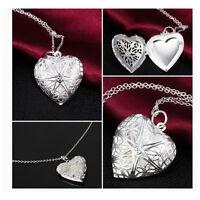 NEU Mode Halskette Herzen Medaillon Silber Liebe Herz Anhänger Kette Foto V7A2