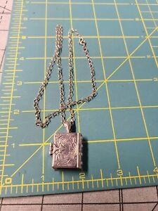 "Vintage Sterling Silver 925 Photo Locket Book w/ 18"" Chain Necklace"