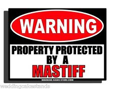 "Beware of Dog Sign for Mastiff Aluminum Metal Beware of Dog Sign 9""x12""  WS268GN"