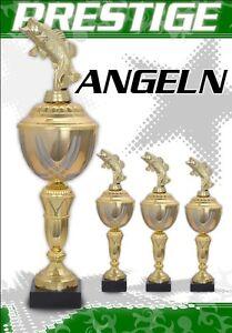 3er ANGEL Pokale Pokalserie Pokal Angeln GOLDEN PRESTIGE mit Gravur + Figur