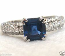 1.70 Carat Natural Sapphire & Diamond Ring Engagement Anniversary Cocktail $5750