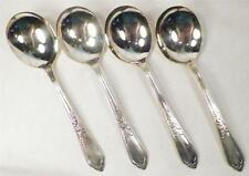 4 Oneida Camille Soup Spoons Silverplate 1937 Silver Plate Vintage Floral