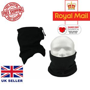 Mens Ladies Black Neck warmer Thermal Polar Fleece Face Mask Tube Ski Balaclava