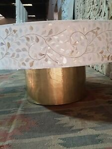Bone Inlay Indian Solid Wood Round Coffee Table Floral Patt (MADE TO ORDER)