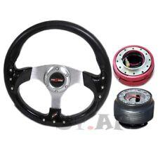 Mustang 6 Bolt Custom 320Mm Steering Wheel Black+Hub Adapter+Quick Release Red