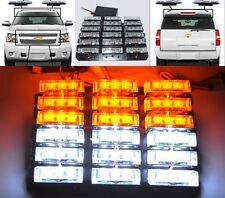 UNIVERSAL DIY WATERPROOF 54 LED WHITE/AMBER STROBE LIGHTS TOW TRUCK/GOLF CART