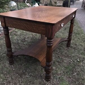 """ANTIQUE TIGER OAK VICTORIAN PARLOR LIBRARY TABLE 42"""" 1890s"""