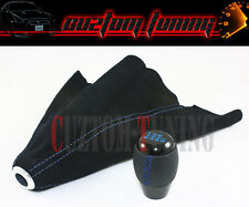 M10 X 1.25 BLACK 6 SPEED JDM SHIFTER KNOB+ SUEDE SHIFT BOOT WITH BLUE STITCHING