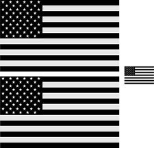 """5"""" American Flag 3M REFLECTIVE Black/White Stickers (x3) Decal USA Police Fire"""