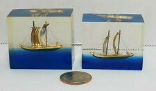 Lucite Block Boat Small Ship Roman Greek Warship Trireme Pair Hong Kong Vintage