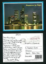 SINGAPORE VINTAGE POSTCARD   STAMP SINGAPORE BY NIGHT