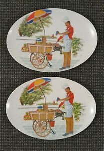🔶️2 RETRO VINTAGE ORNAMIN WARE MELMAC MELAMINE DAD KITSCH BBQ PICNIC PLATE