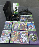 Microsoft Xbox 360 S 250GB Black Console with 10 Games Tested and Kinect Bar