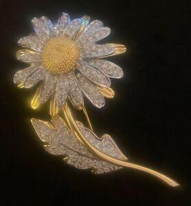 NOLAN MILLER Sunflower BROOCH Swarovski Crystals Goldtone