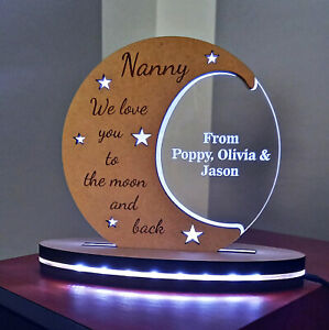 Personalised Led Night Light - Love you to the moon and back, Gift for everyone