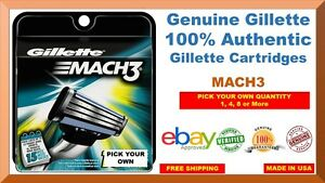 GENUINE GILLETTE MACH3 3 BLADES CARTRIDGES (USA EDITION) PICK OWN (NEW SHIELD)