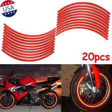 20pcs Strips Red Reflective Motorcycle Car Rim Stripe Wheel Decal Tape Sticker
