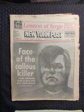 1980 Dec 10 New York Post Newspaper Vg+ 4.5 John Lennon Death