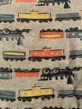 Baby Gap Toddler Trains Pjs Pajama 4T Two-piece Set Grey Orange Yellow Teal