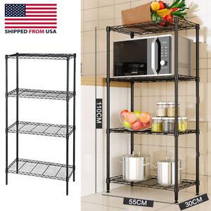 4 Layers Kitchen Shelves Unit Adjustable Metal Wire Shelf Rack Storage Organizer