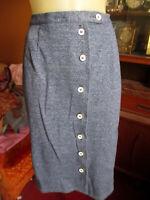 Vtg 70s 30w GRAFF HEATHER BLUE STRETCH KNIT WHITE BUTTONED KNEE Skirt