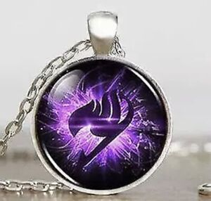 """Fairy Tail Anime Cabochon Necklace Purple Silver 1"""" Pendant 18"""" Chain US Seller"""