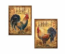 Countryside Tuscan Roosters Country Kitchen Art Prints- 2-8x10in Paper Posters