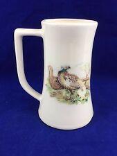 vintage porcelain tankard mug pheasant  motif hunters lodge cabin