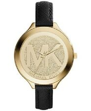 Michael Kors Women's Slim Runway Gold Tone Black Saffiano Leather Watch MK2392