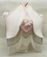Vintage Victorian Style PINK Silk & Lace Fabric Lampshade Crystal Glass Beads