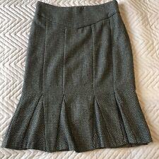 Warehouse Trumpet Skirt Size 8 Grey & Light Blue Knee Length Lined Wool & Silk